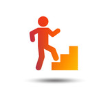 Upstairs icon. Human walking on ladder sign. Blurred gradient design element. Vivid graphic flat icon. Vector - 197014954