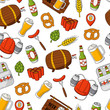 Vector beer cartoon doodle seamless background, pattern, texture, template, wallpaper. Backdrop for print, web design, T-shirts, sweatshirt - 197020380