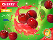 Cherry fresh juice advertising. 3d realistic vector package design