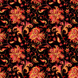 seamless pattern with  gold and red flowers  - 197026564