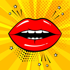 Red lips on orange background in pop art style. Vector illustration