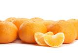 ripe tangerine on a white background