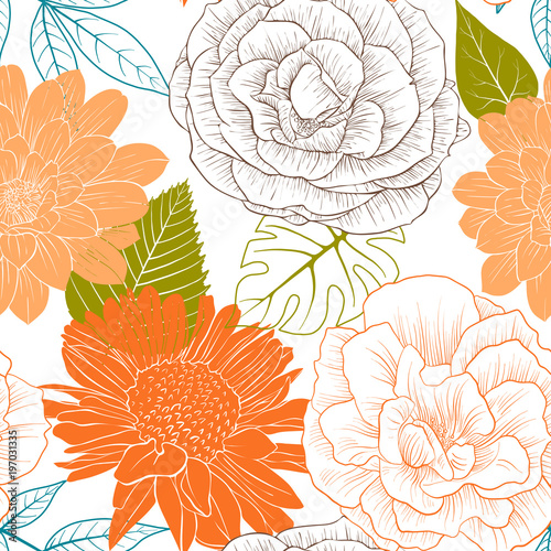 vector seamless pattern with flowers and leaves © cat_arch_angel