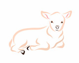 Young light lamb, drawing with smooth lines - 197031918
