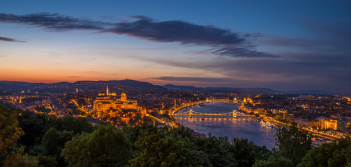 View of Budapest in Hungary at night