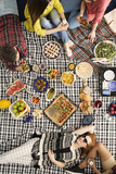 Vegan friends having picnic