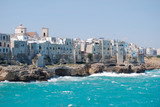 Coastal view of Polignano a Mare with rough sea and typical white houses - Puglia - Italy - 197039394