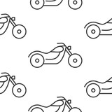 Seamless motorcycle pattern grey on white background