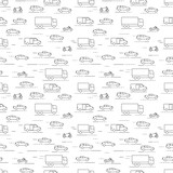 Seamless cars and bikes pattern grey on white background