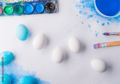 Eggs flat lay on a white background. Easter and spring composition. - 197043570