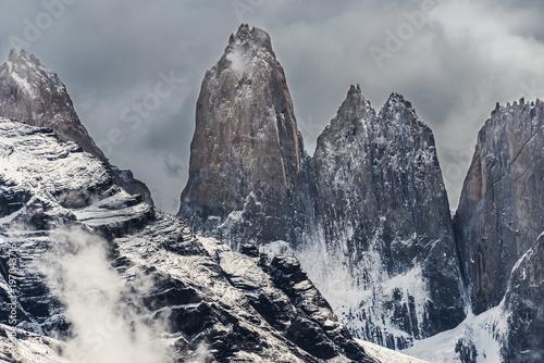 Aluminium Fyle Torres del Paine peaks coming from clouds