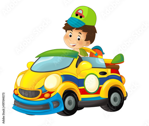 cartoon scene with child in toy sports car on white background - illustration for children - 197044373