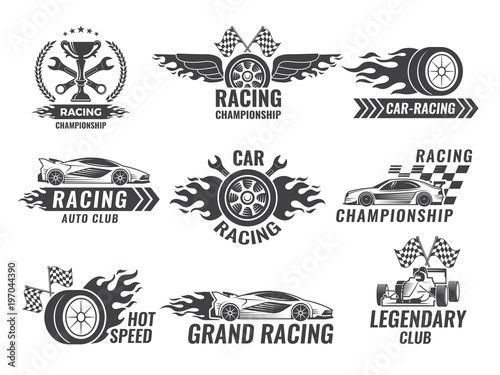 Monochrome labels and badges of sport labels. Racing cars - 197044390