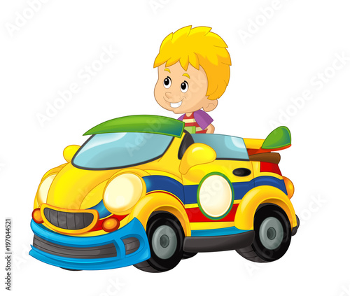 cartoon scene with child in toy sports car on white background - illustration for children - 197044521