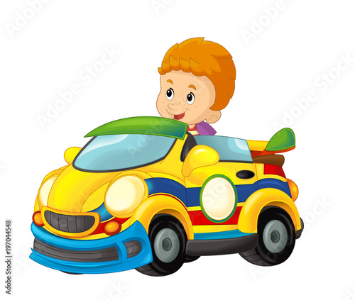 cartoon scene with child in toy sports car on white background - illustration for children - 197044548