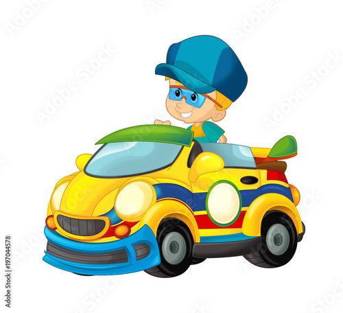 cartoon scene with child in toy sports car on white background - illustration for children - 197044578