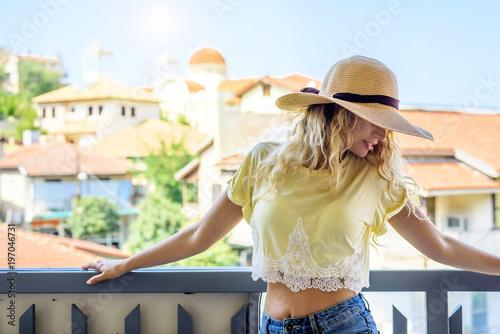 Fotobehang Cyprus Tourist Girl in Kakopetria, Cyprus. Summer journey traveling