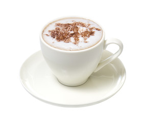 Coffee cappuccino chocolate, isolate on a white background
