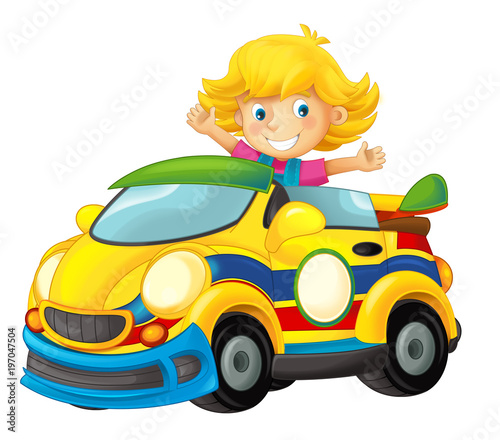 Cartoon scene with girl in sports car smiling and looking - illustration for children - 197047504