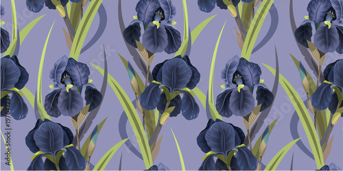 Seamless floral pattern with irises. Violet irises on a lilac background. Vector illustration . Background for textile, manufacturing, book covers, wallpapers, print or gift wrap. Vector illustration. - 197047731