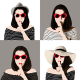 Photo collage in the style of pop art. Woman in red sunglasses shows gesture Shhh.