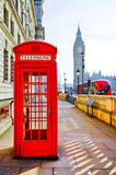 Red telephone box and Big Ben in London. © Javen
