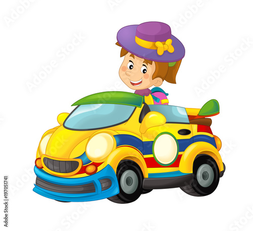 Cartoon scene with girl in sports car smiling and looking - illustration for children - 197051741