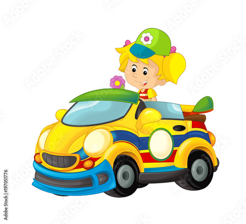Cartoon scene with girl in sports car smiling and looking - illustration for children - 197051776