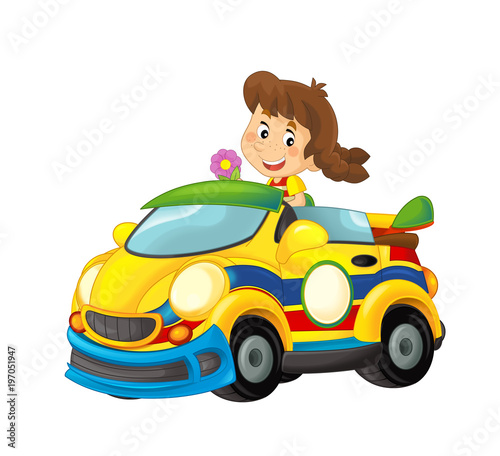 Cartoon scene with girl in sports car smiling and looking - illustration for children - 197051947