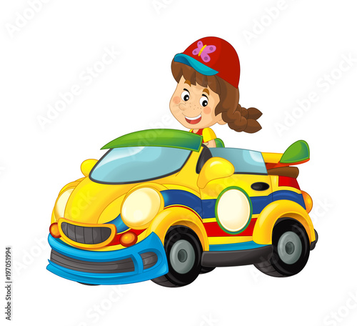 Cartoon scene with girl in sports car smiling and looking - illustration for children - 197051994