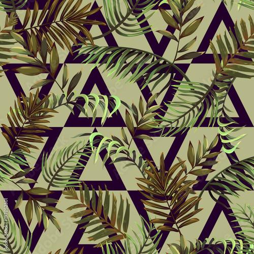 Bezszwowy wzór z gałąź tropikalne palmy i trójboki