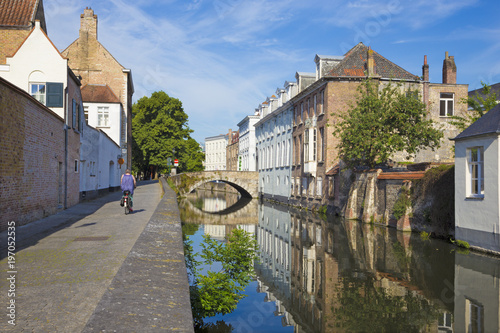 Foto op Canvas Brugge Bruges - Canal and Gouden Hadstraat street in morning light.