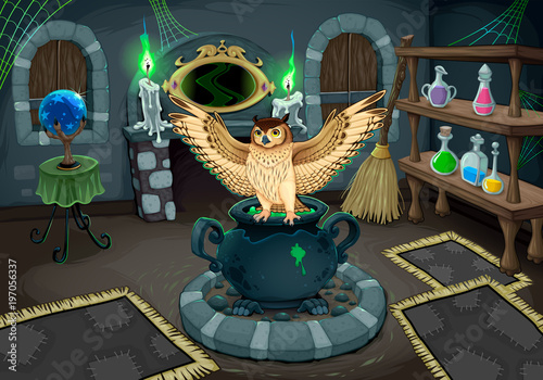 Foto op Canvas Kinderkamer The witch room with owl