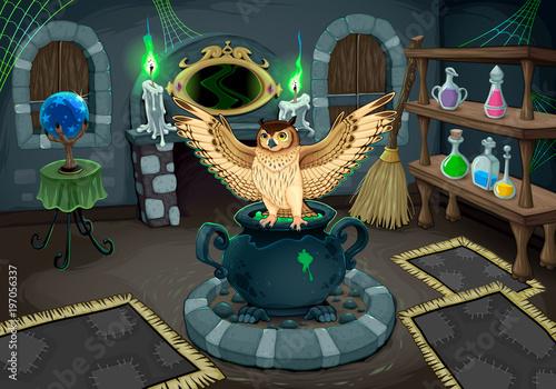 Keuken foto achterwand Uilen cartoon The witch room with owl