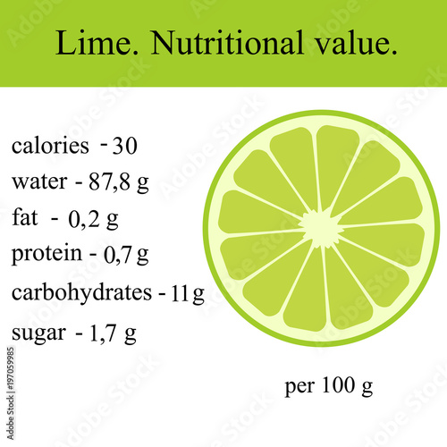 Healthy Lifestyle. Lime. Nutritional value. - 197059985