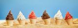 Gourmet ice-cream on a tropical beach in summer