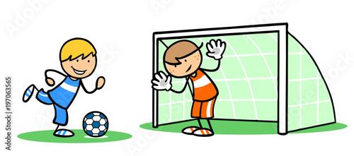 Fototapeta Kinder trainieren Fußball spielen mit Torwart