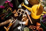 Gardening theme with garden tools