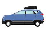 Cartoon modern suv car. Side view. Flat vector.