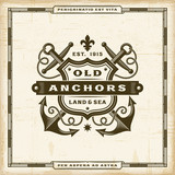 Vintage Old Anchors Label. Editable EPS10 vector illustration in retro woodcut style with transparency.