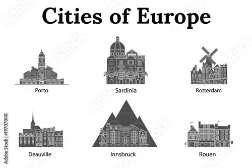 Fotobehang Rotterdam The city of Europe, Innsbruck, Sardinia, Rotterdam, Deauville, Rouen, Porto. European houses. Different sizes and constructions. Old houses of Europe Flat vector in lines