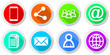 Internet and mobile phone social media application vector icons
