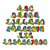 Alphabet in colorful style for children.Latin letters and numbers.
