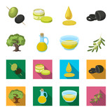 An olive tree, a branch with olives, a vessel and a jug of oil. Olives set collection icons in cartoon,flat style vector symbol stock illustration web.