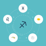 Set of astronomy icons flat style symbols with constellation, pisces, leo and other icons for your web mobile app logo design.