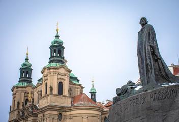 Statue of Jan Hus in Old Town, Prague, Czech Republic