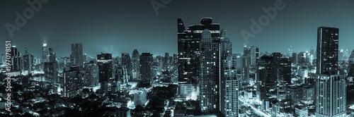 Sticker Bangkok aerial skyline view at night in Thailand