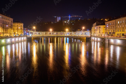 mata magnetyczna Epinal Moselle River and Bridge Night Shot with Long Expose