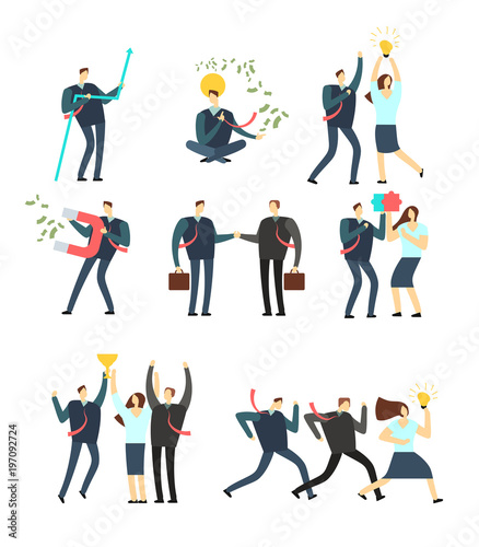 Women and men business people acting in various situation. Vector cartoon employees