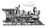 Retro steam locomotive, train. Vintage sketch vector illustration